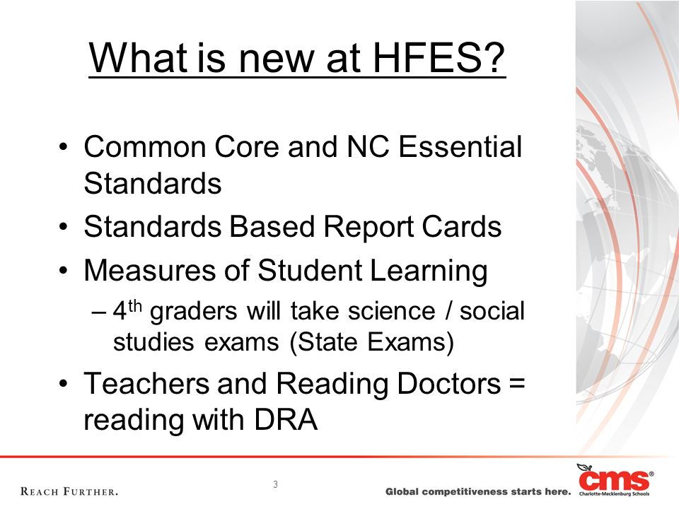 What is new at HFES Common Core and NC Essential Standards