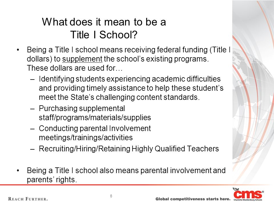 What does it mean to be a Title I School