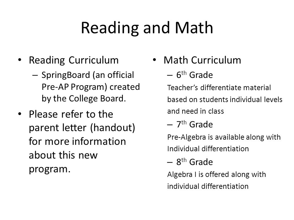 Reading and Math Reading Curriculum