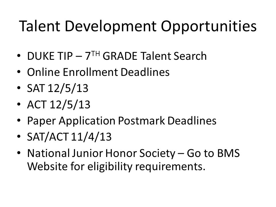 Talent Development Opportunities