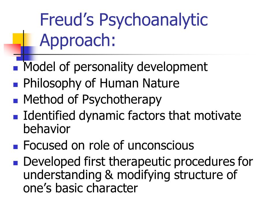 a personal experience of freuds psychoanalytical theory of personality Freud's psychoanalytic theory outlines three elements of personality—the id, the ego and the superego—that work together to form personality menu what are the id, ego, and superego.