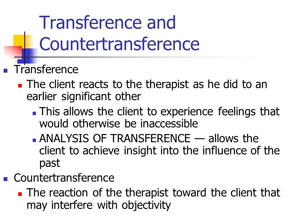 transference and countertransference Tag: countertransference  the transference and countertransference reactions of the african-american psychotherapist as well as the expressions of white.
