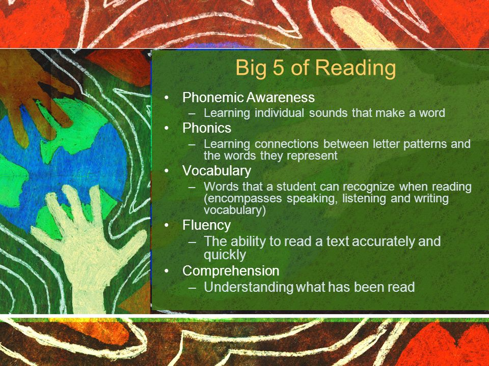 Big 5 of Reading Phonemic Awareness Phonics Vocabulary Fluency