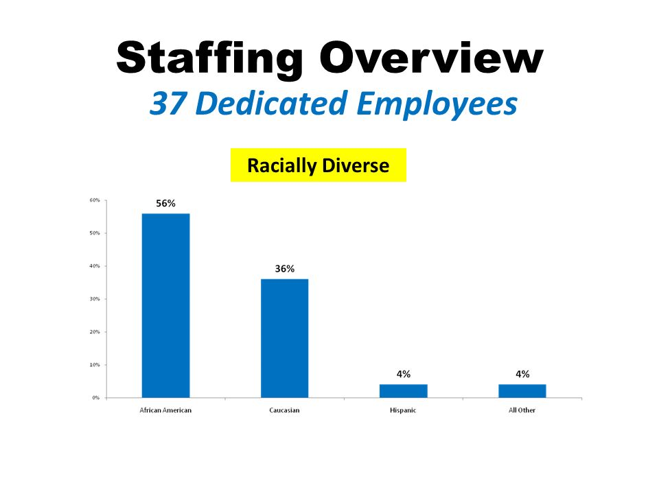 Staffing Overview 37 Dedicated Employees Racially Diverse