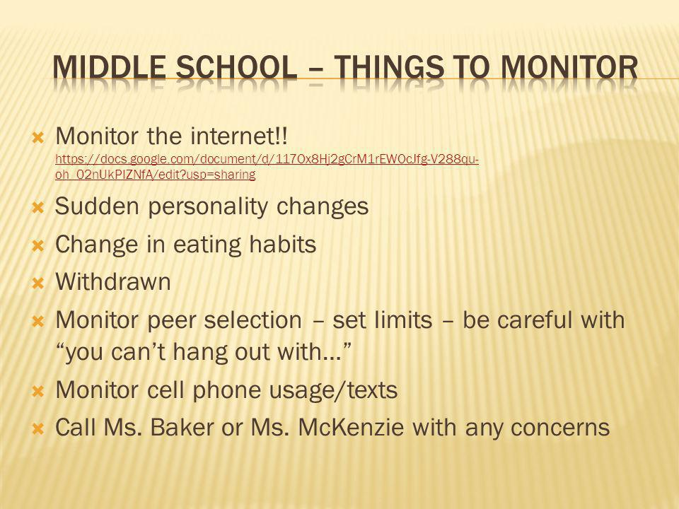 Middle School – things to monitor
