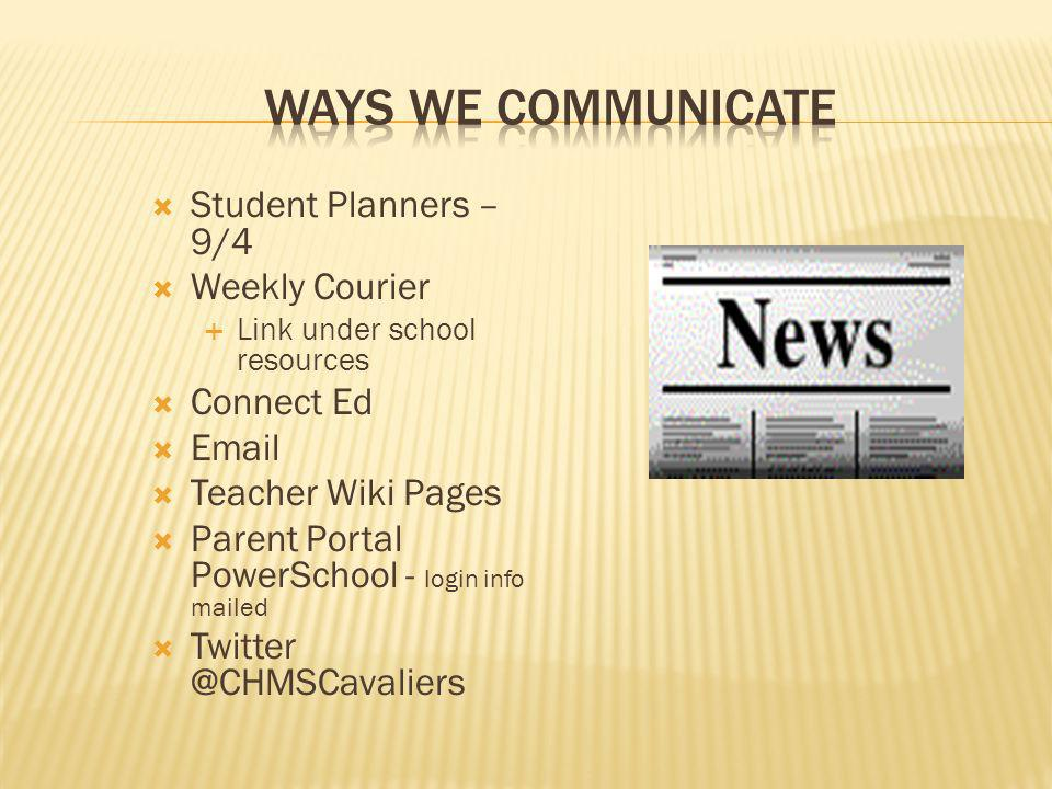 Ways We Communicate Student Planners – 9/4 Weekly Courier Connect Ed