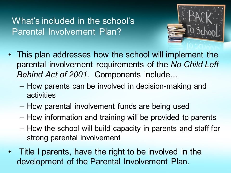 importance of parental involvement in a childs education Parental encouragement and support for learning activities at home combined with parental involvement in schooling is critical to children's education a growing body of research shows that building effective partnerships between parents, families and schools to support children's learning leads to improved learning outcomes.