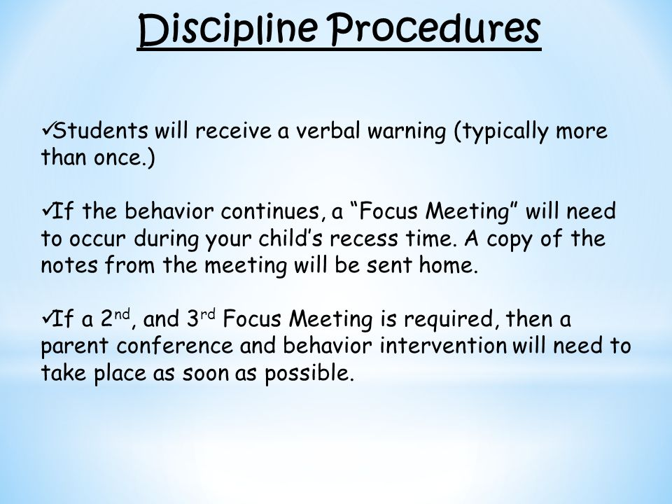Discipline Procedures
