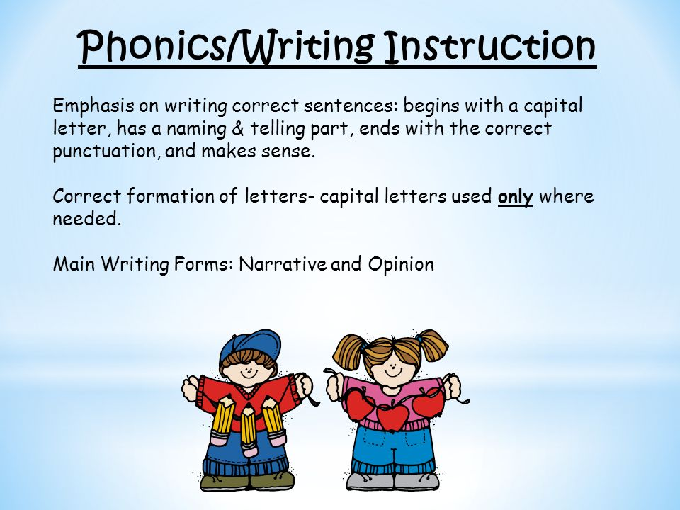 Phonics/Writing Instruction