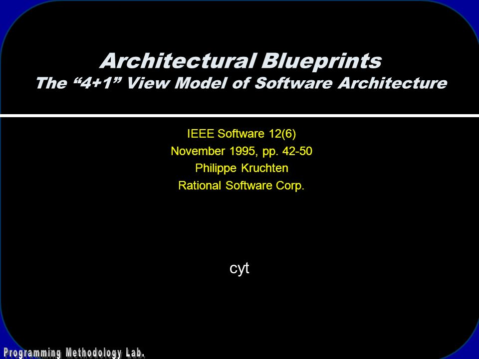 Architectural Blueprints The 4 1 View Model Of Software