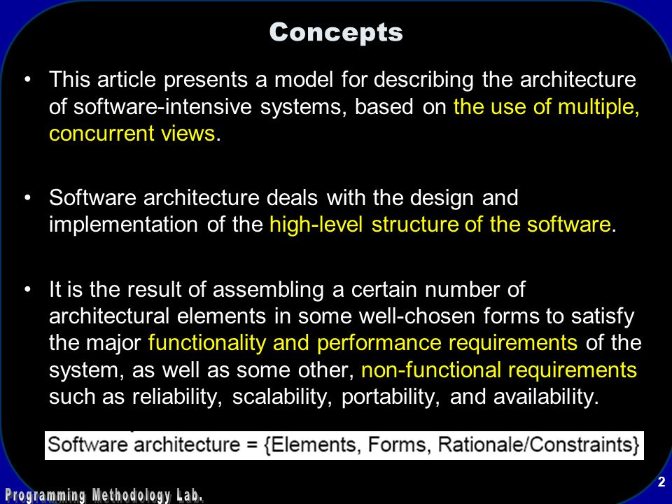 Concepts This Article Presents A Model For Describing The Architecture Of Software Intensive Systems