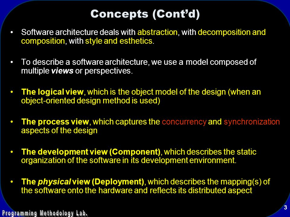 Concepts Contd Software Architecture Deals With Abstraction Decomposition And Composition