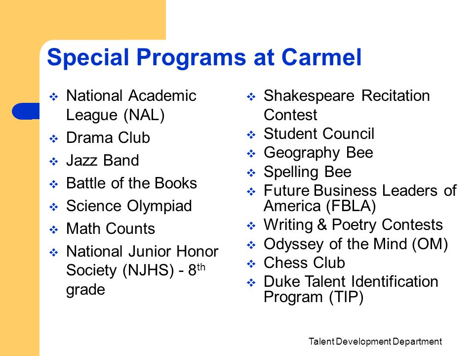 Special Programs at Carmel