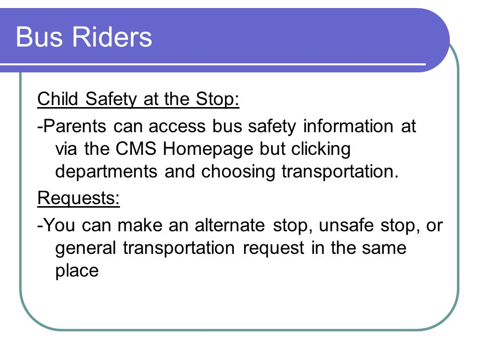 Bus Riders Child Safety at the Stop: