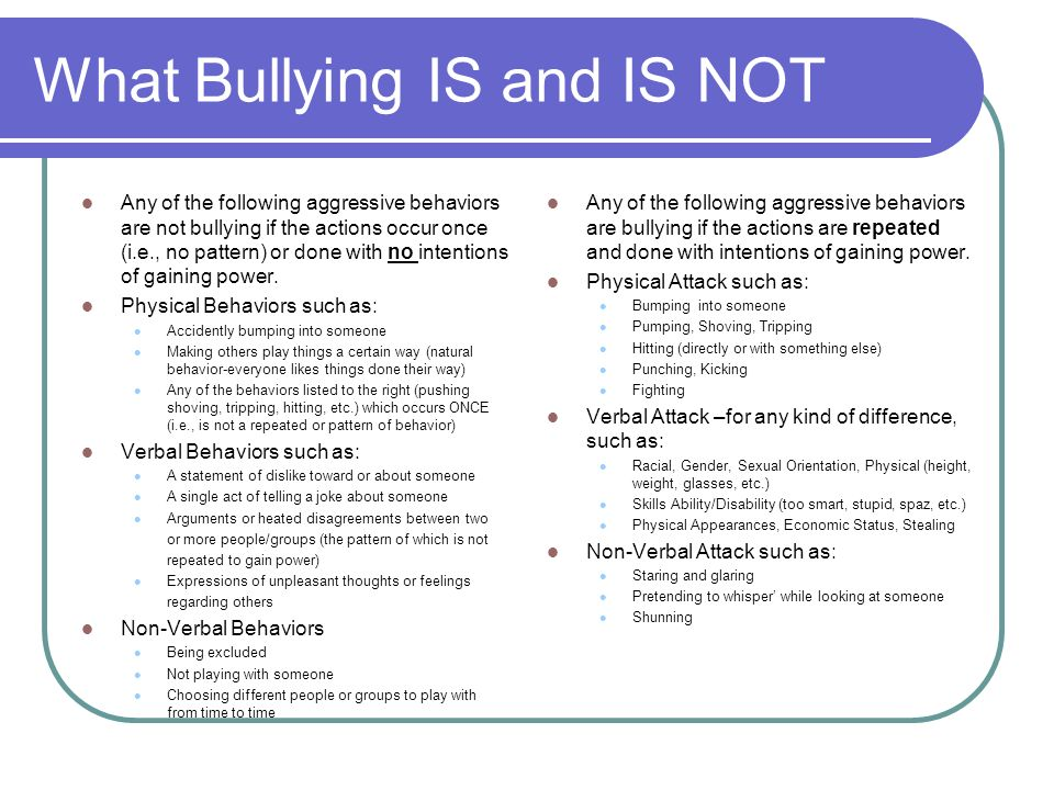 What Bullying IS and IS NOT