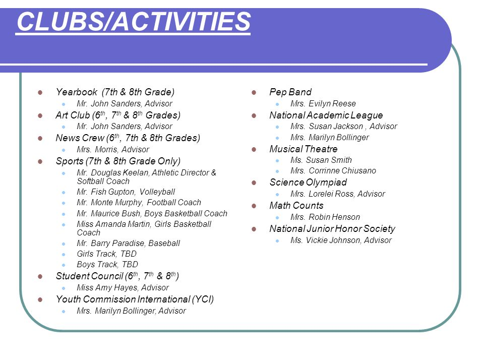 CLUBS/ACTIVITIES Yearbook (7th & 8th Grade)