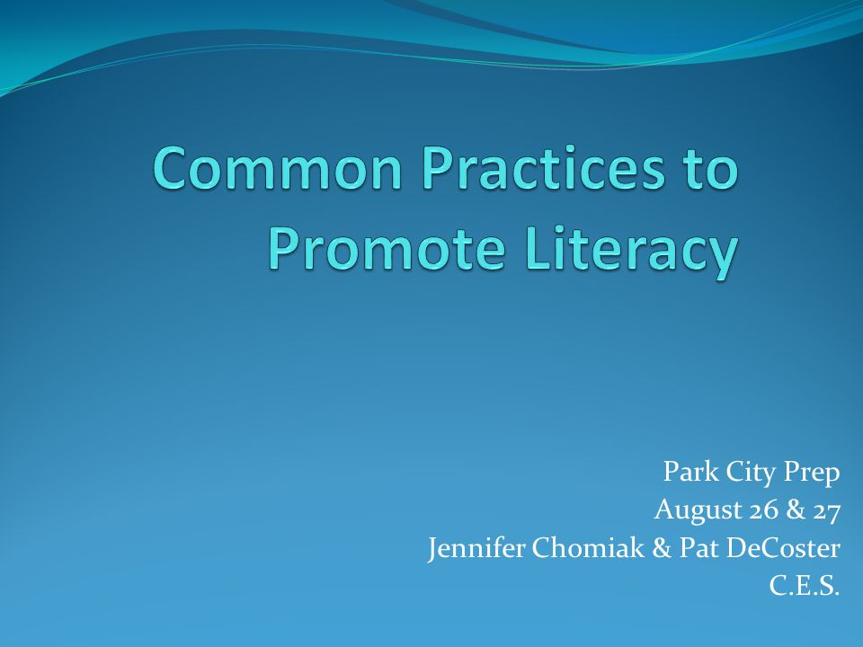 Common Practices to Promote Literacy