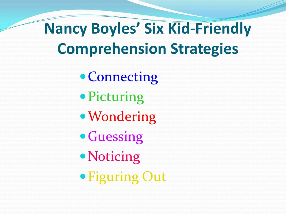 Nancy Boyles' Six Kid-Friendly Comprehension Strategies