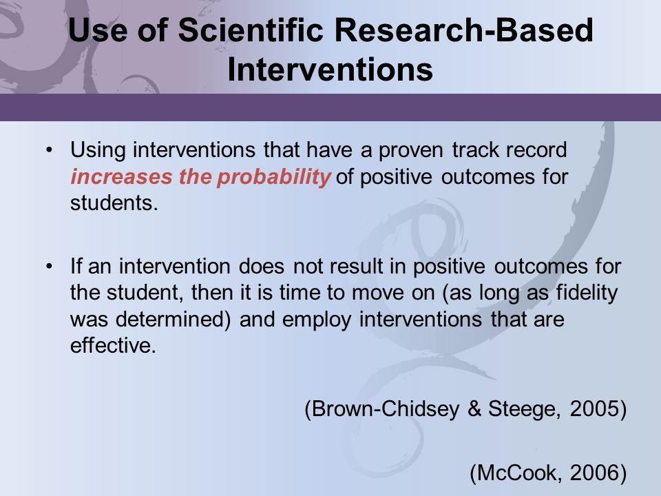 Use of Scientific Research-Based Interventions