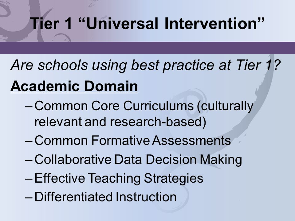 Tier 1 Universal Intervention