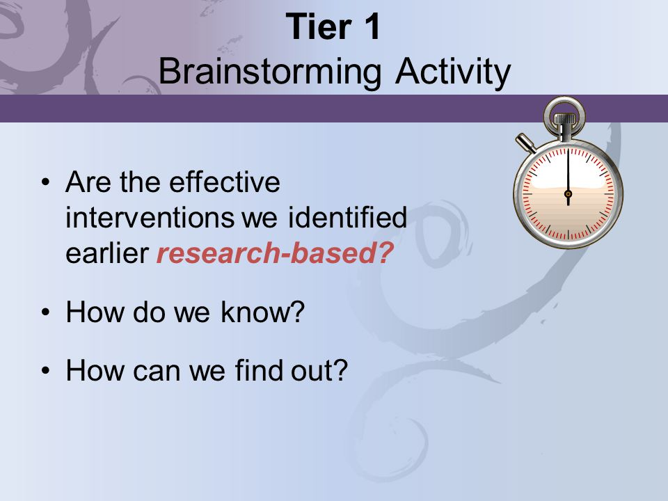 Tier 1 Brainstorming Activity