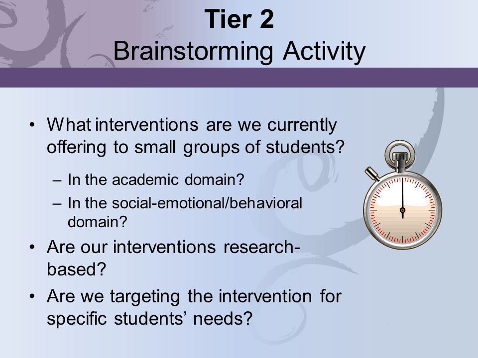 Tier 2 Brainstorming Activity