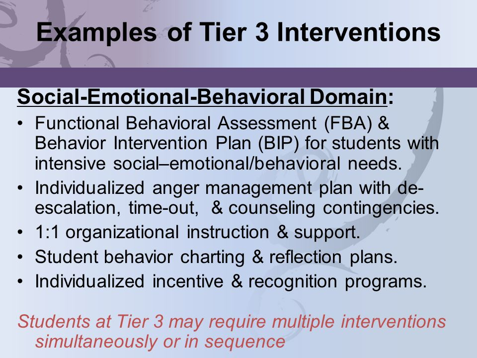 Examples of Tier 3 Interventions