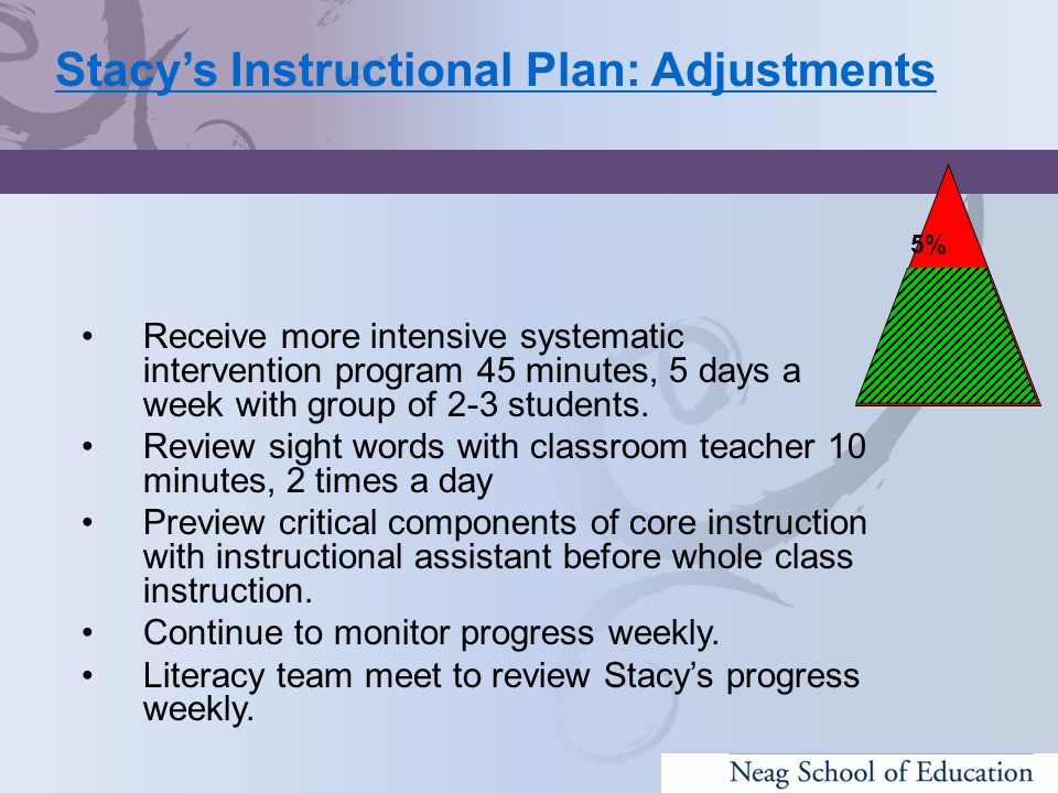 Stacy's Instructional Plan: Adjustments