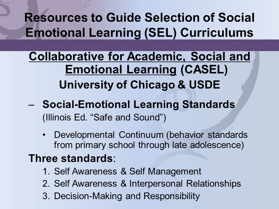 Resources to Guide Selection of Social Emotional Learning (SEL) Curriculums