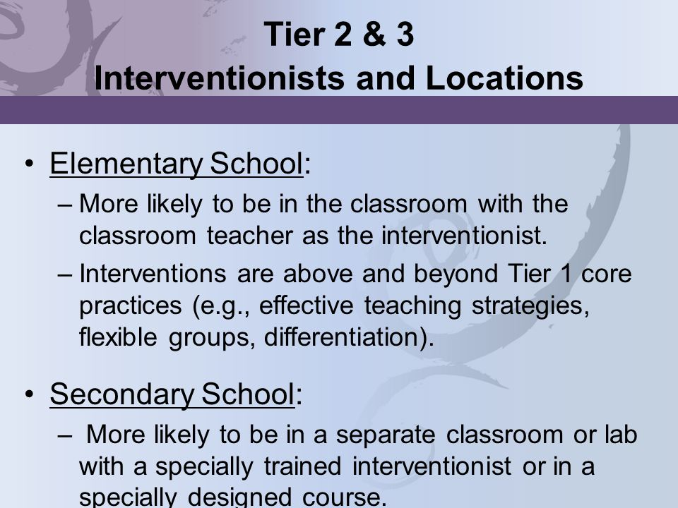 Tier 2 & 3 Interventionists and Locations