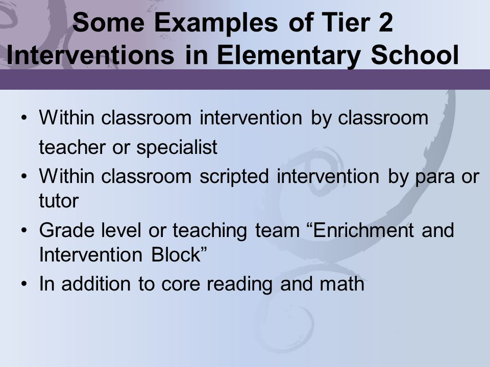 Some Examples of Tier 2 Interventions in Elementary School