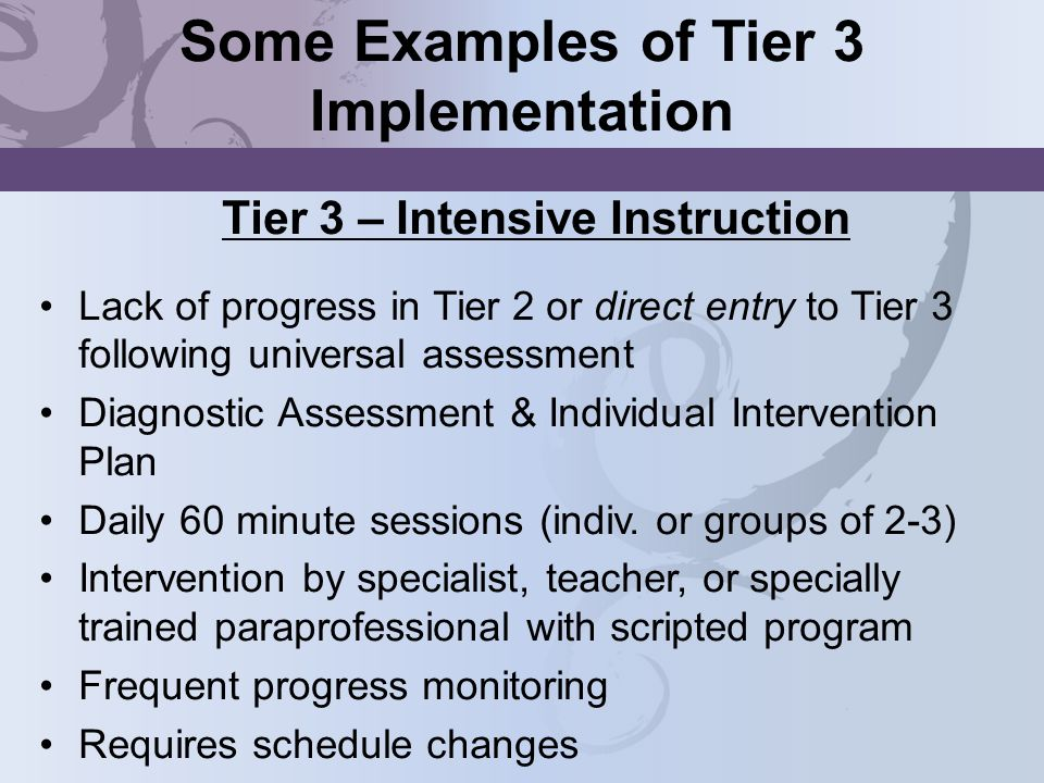 Some Examples of Tier 3 Implementation