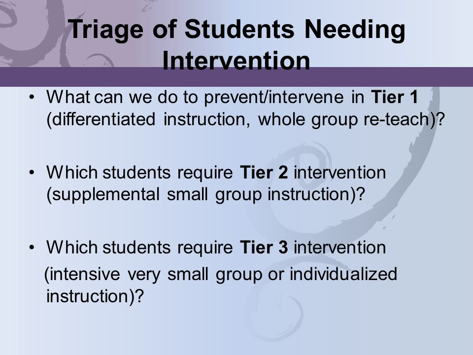 Triage of Students Needing Intervention