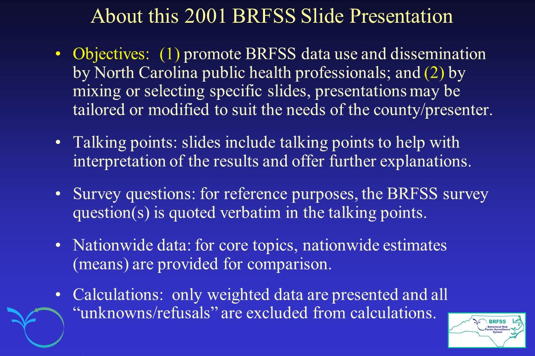 About this 2001 BRFSS Slide Presentation