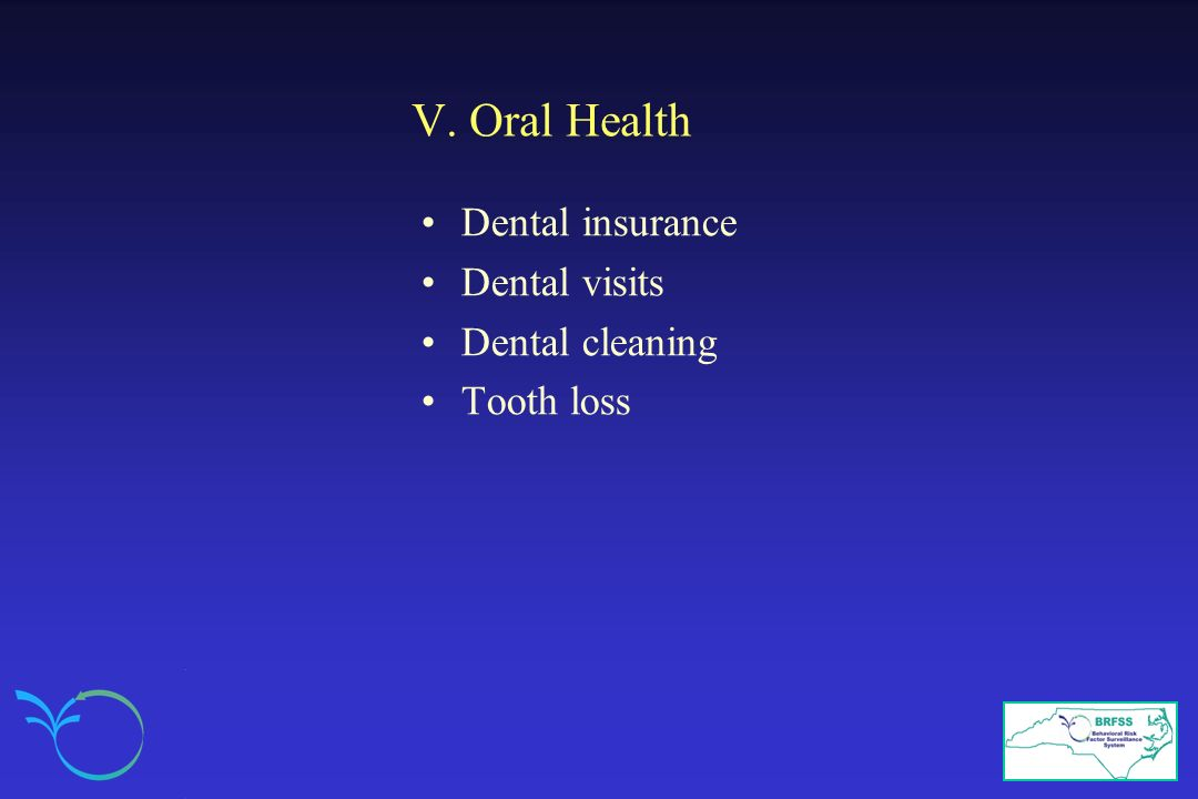 V. Oral Health Dental insurance Dental visits Dental cleaning