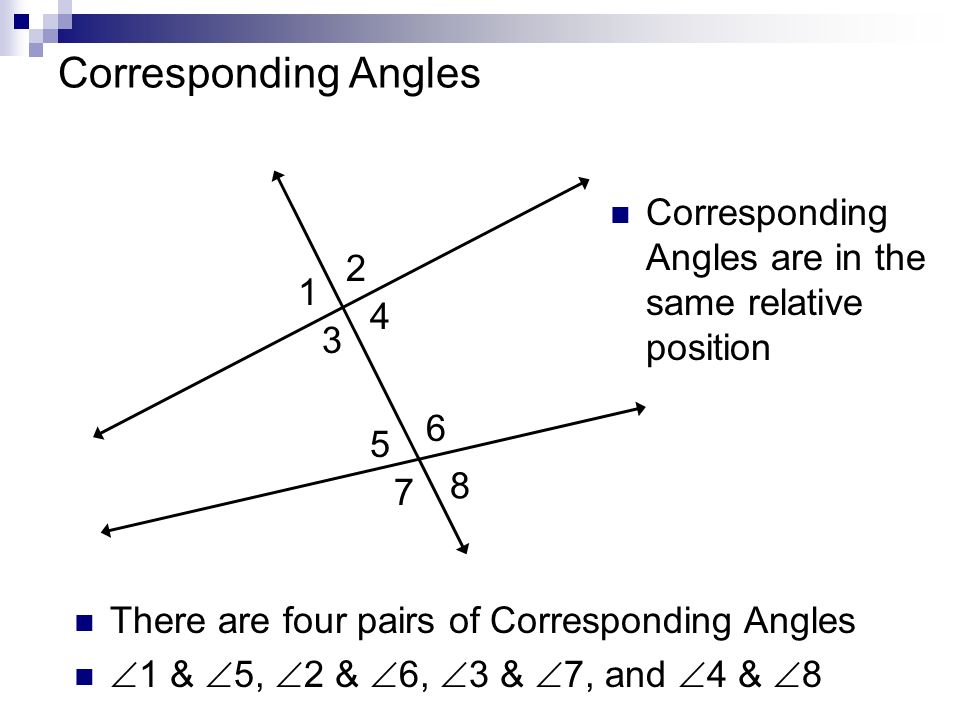 Corresponding Angles Corresponding Angles are in the same relative position. 2. 1. 4. 3. 6. 5.