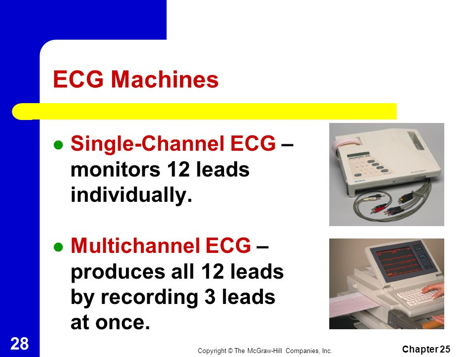 ECG Machines Single-Channel ECG – monitors 12 leads individually.