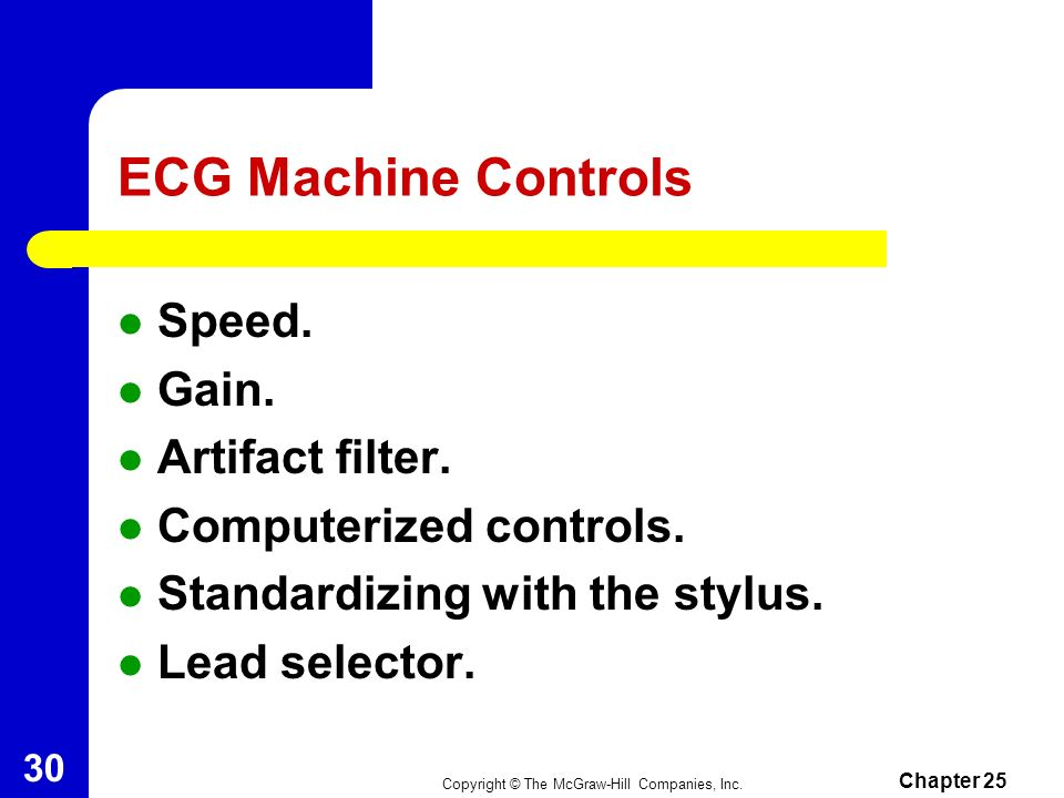 ECG Machine Controls Speed. Gain. Artifact filter.