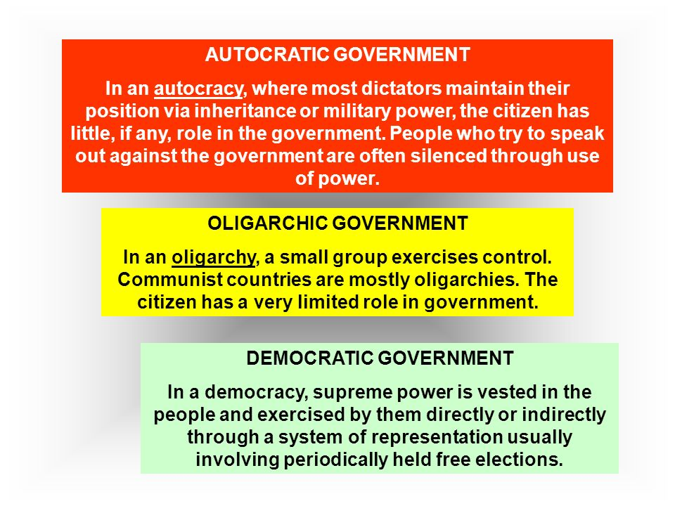 autocratic system of government Form of government, political system - the members of a social organization who are in power dictatorship , monocracy , one-man rule , shogunate , stalinism , totalitarianism , tyranny , authoritarianism , caesarism , despotism , absolutism - a form of government in which the ruler is an absolute dictator (not restricted by a constitution or.