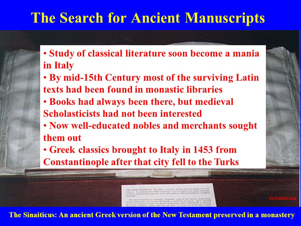 The Search for Ancient Manuscripts