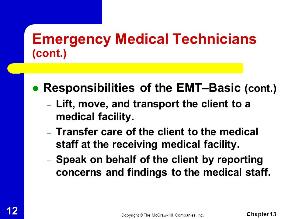 Emergency Medical Technicians (cont.)