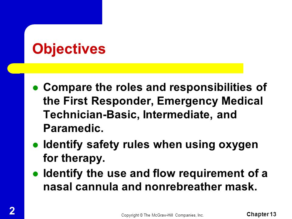 Objectives Compare the roles and responsibilities of the First Responder, Emergency Medical Technician-Basic, Intermediate, and Paramedic.