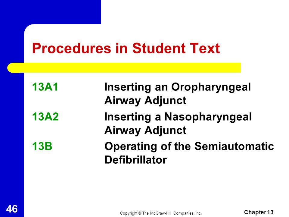 Procedures in Student Text