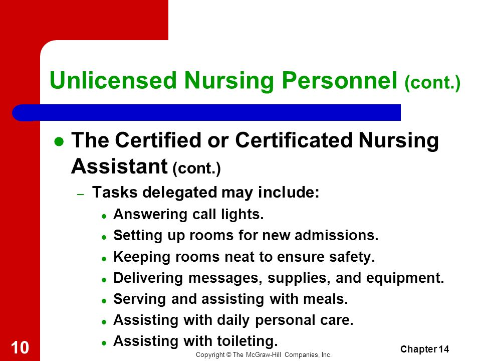 Unlicensed Nursing Personnel (cont.)