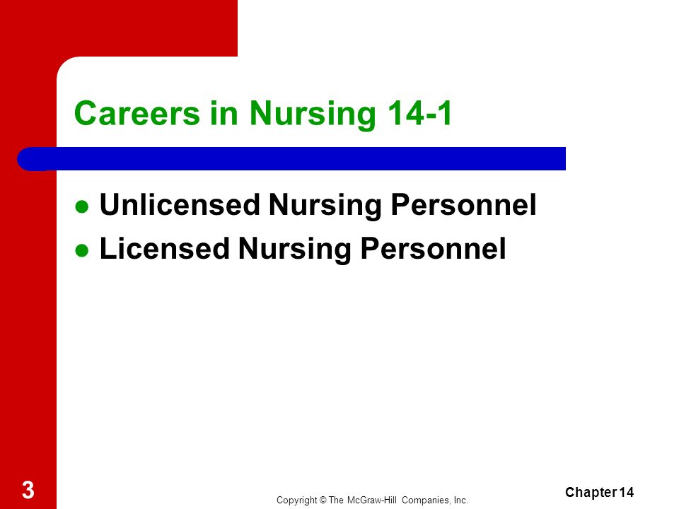Careers in Nursing 14-1 Unlicensed Nursing Personnel