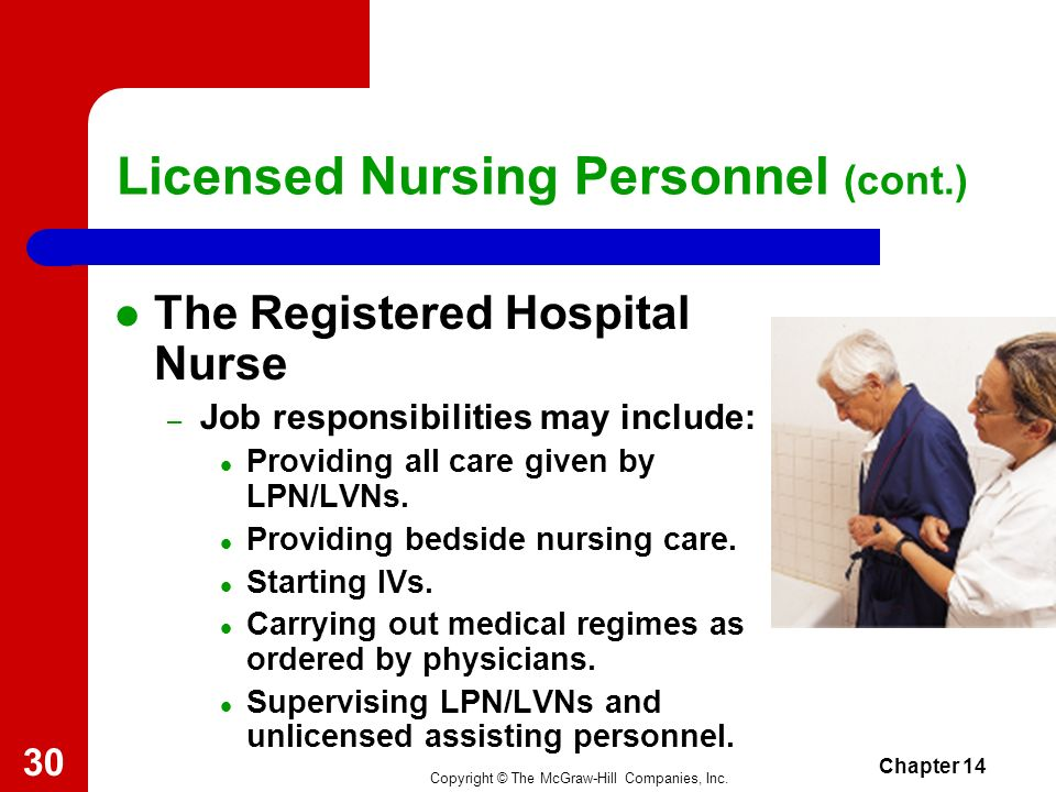 Licensed Nursing Personnel (cont.)