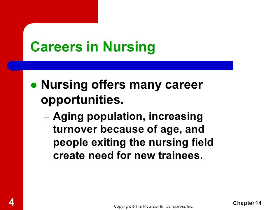 Careers in Nursing Nursing offers many career opportunities.