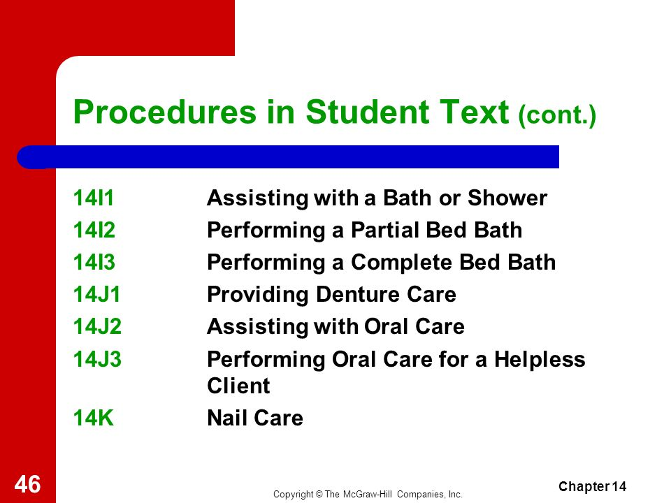 Procedures in Student Text (cont.)