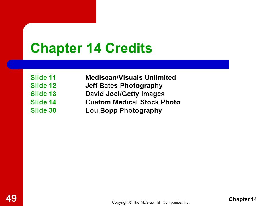Chapter 14 Credits Slide 11 Mediscan/Visuals Unlimited