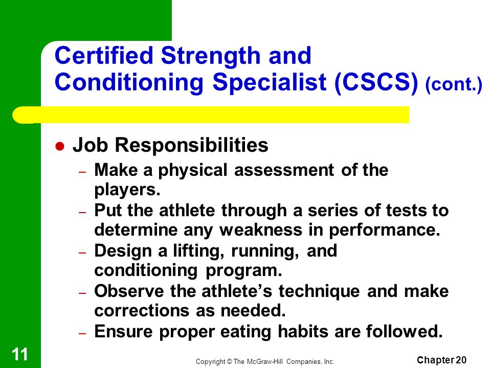 Certified Strength and Conditioning Specialist (CSCS) (cont.)